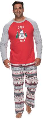 "Cuddl Duds Big & Tall Jammies For Your Families Polar Bear Fairisle Family Pajamas ""Papa Bear"" Top & Bottoms Set"