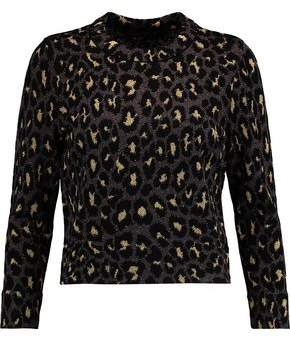 Marc by Marc Jacobs Metallic Leopard-Print Intarsia-Knit Wool-Blend Top
