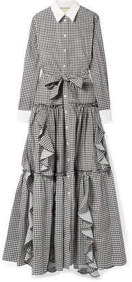 Sara Battaglia Ruffled Gingham Cotton-poplin Maxi Dress - Black