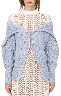 Self-Portrait Self Portrait long cable knit cardigan in baby blue (M)