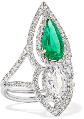 Amrapali 18-karat Silver, Gold, Diamond And Emerald Ring - 6