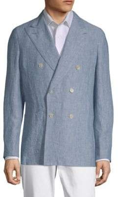 Caruso Chambray Double-Breasted Jacket