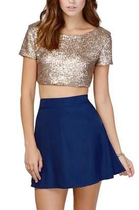 Lettre d'amour Women Sequins Backless Short Sleeve Shirt Blouse Midriff Crop Top L