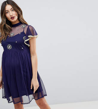 595c91ba9df Asos Skater Dress With Embroidery And Lace Trim