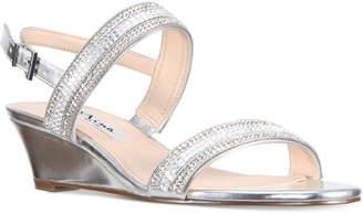 Nina Florece Rhinestone Embellished Wedge Sandals Women's Shoes