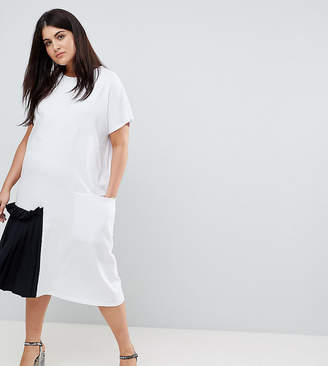 Asos Midi T-Shirt Dress With Contrast Woven Pleated Detail