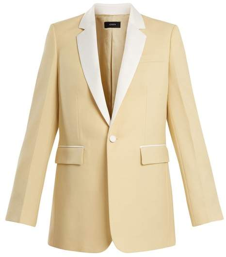 Jan single-breasted contrast-trim wool blazer