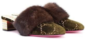 Gucci Fur-trimmed velvet mules