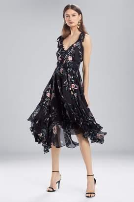 Natori Josie Pressed Flower Printed Silk Chiffon Dress