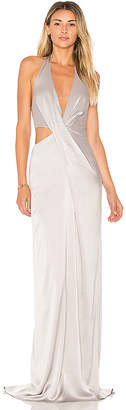 Halston Deep V Neck Draped Gown