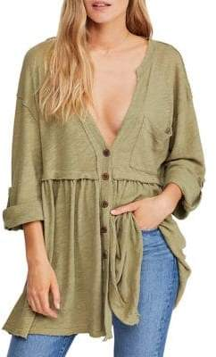Free People V-Neck Linen Cotton Buttoned Tunic