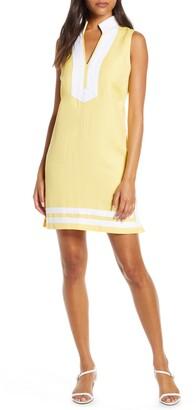 Eliza J Mandarin Collar Linen Blend Sheath Dress