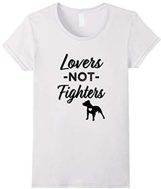 Breed Womens Lovers not Fighters Pitbull saying women's T-shirt