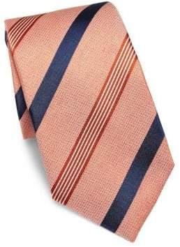 Isaia Textured Striped Silk Tie