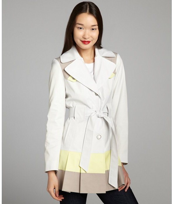 Via Spiga dove cotton blend belted colorblock trench coat