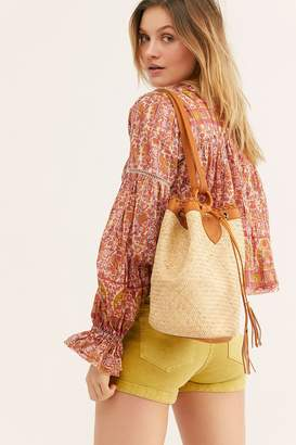 Rori Leather Straw Bucket Bag