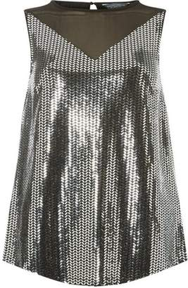 Dorothy Perkins Womens **Tall Silver Jersey Sequin Mesh Top