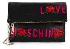 Love Moschino Embroidered Faux Leather Crossbody Bag