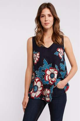 Fat Face Womens FatFace Blue Ruby Japanese Blooms Longline Top - Blue