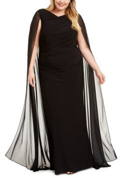 Betsy & Adam Plus Size Chiffon Cape Gown