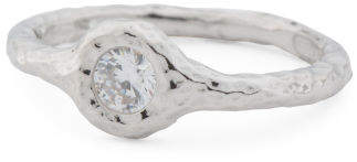 Made In Italy Sterling Silver Bezel Set Cz Hammered Ring