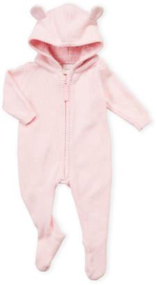 Cuddl Duds Newborn Girls) Pink Hooded Knit Footie