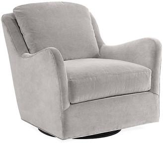 One Kings Lane Savannah Swivel Glider Chair - Light Gray Velvet