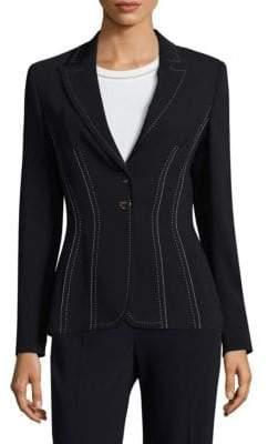 Escada Bakaras Stitch-Detail Stretch-Wool Jacket