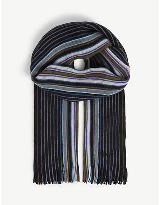 Paul Smith Goji striped wool scarf