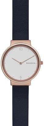 Skagen Women's Ancher Leather Strap Watch, 34mm