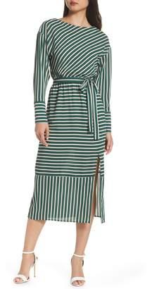 Charles Henry Striped Midi Dress