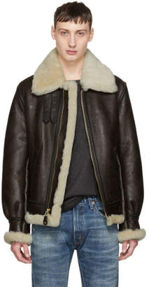 Schott Brown Shearling B-3 Jacket
