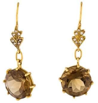 Cathy Waterman 22K Smoky Quartz & Diamond Drop Earrings