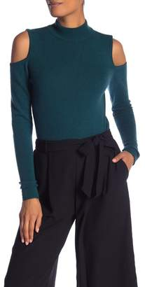 Catherine Malandrino Long Sleeve Cashmere Cold Shoulder Top