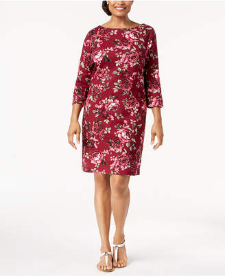 Karen Scott Printed Boat-Neck Dress