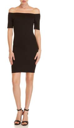Shinestar Ponte Off-the-Shoulder Bodycon Dress