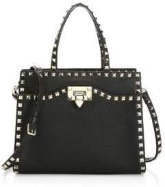 Valentino Small Double Handle Rockstud Leather Satchel