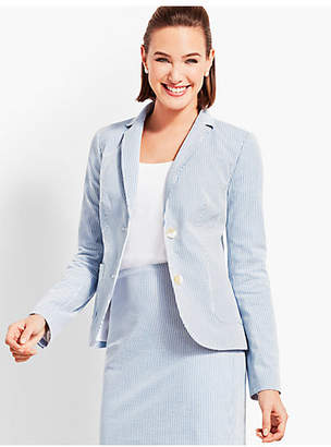 Talbots Seersucker Double-Button Blazer