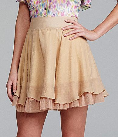 Gianni Bini Angel Ruffle Tulle-Underlay Skirt