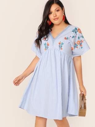Shein Plus V-neck Empire Waist Striped & Floral Print Dress