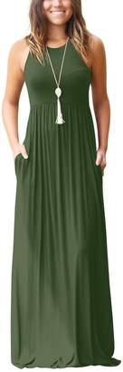 Glomeen Women's Maxi Dresses Sleeveless Racerback Loose Plain Casual Long Dresses with Pockets (, L)