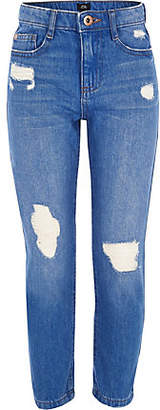 River Island Girls blue Bella ripped straight leg jeans