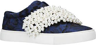 KG by Kurt Geiger Ottis Embellished Slip On Trainers, Blue/Other