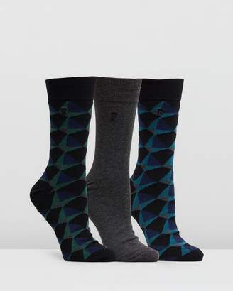 French Connection 3-Pack Kaleidoscope Diamond Socks