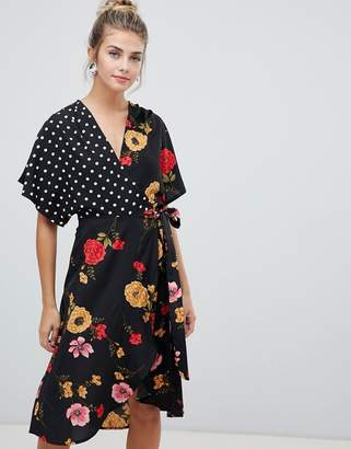 0ea4dc9ba4b Influence kimono sleeve wrap dress in mix and match print