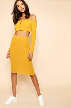 boohoo Rib Knit Button Front Skirt And Bardot Set