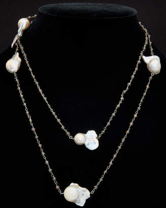 Meira T Silver Black Spinelle & Pearl Necklace
