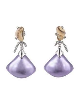 Alexis Bittar Crystal Maze Fan Dangle Earrings w/ Fancy Stone, Purple