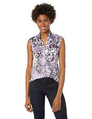 Nine West Women's Sleeveless Inverted Front Pleat Printed ITY