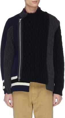 Sacai Colourblock mix knit patchwork zip cardigan